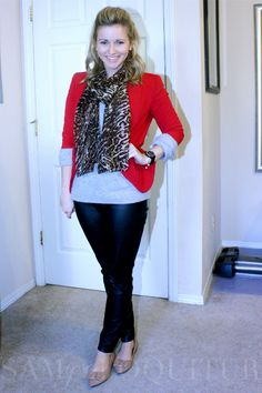 loving the red blazer Animal Print Scarf, Packing Ideas, Red Blazer, Lc Lauren Conrad, Tj Maxx, Playing Dress Up, Black Pants, Style Me, Casual Outfits