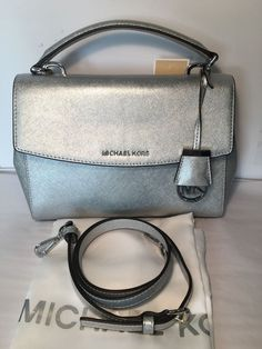 NWT Michael Kors  Small Leather Ava Satchel   Crossbody /Silver #MichaelKors #satchelCrossBody