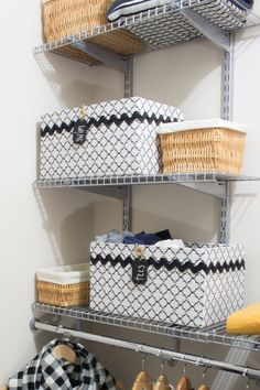 DIY upcycled cardboard box storage bins | Closet organizing ideas | How to make black and white fabric storage boxes