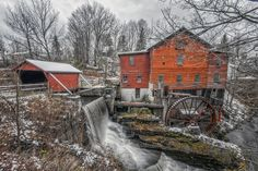 Water Wheel in Taughannock Falls, Ulysses, New York State - will have to find out if this is still there. I mean, I live very close. Beautiful World, Beautiful Places, Old Grist Mill, Old Bridges, Water Powers, Water Mill, Interesting Buildings, Old Barns, Le Moulin
