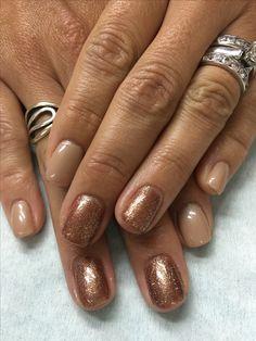 Tan/Beige Copper Fall Glitter gel nails