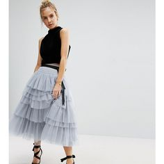 ASOS PETITE Tulle Midi Prom Skirt with Tiers and Tie Waist ($52) ❤ liked on Polyvore featuring skirts, grey, petite, gray tulle skirt, grey skirt, short tulle skirt, knee length tulle skirt and tulle midi skirts