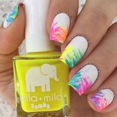 white-with-pink-red-orange-blue-purple-yellow-green-brush-strokes-yellow-nail-polish-cute-nail-designs