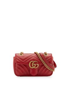 GUCCI Gg Marmont 2.0 Mini Quilted Leather Crossbody Bag, Red. #gucci #bags #shoulder bags #leather #crossbody #lining #