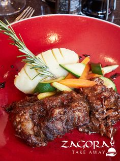 Slow-cooked oxtail in red wine served on a bed of parmesan mash and grilled baby vegetables. Finished with red wine and garlic Jus. Vegetables For Babies, Oxtail, Frozen Meals, Parmesan, Red Wine, Slow Cooker, Steak, Grilling, Garlic