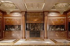 Imperial-kitchen-with-backlit-marble-Kitchen-King-walnut-version-Kitchen-collection-Modenese-Gastone (3).jpg - Cucina Royal versione noce