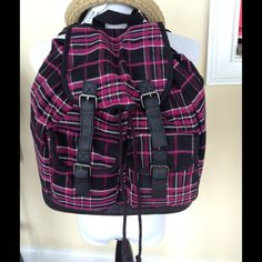 Candies Pink Black and Gray Flannel backpack Darling backpack for school, sleepovers, travel, etc. has cinched top. Adjustable shoulder straps. Candie's Bags Backpacks
