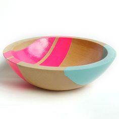 Neon Wood Salad Bowl Pink