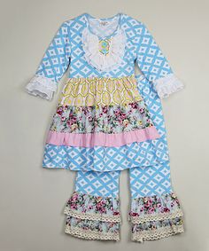 Look what I found on #zulily! Blue Diamond Ruffle Tunic & Pants - Girls by Ruffles by Tutu AND Lulu #zulilyfinds