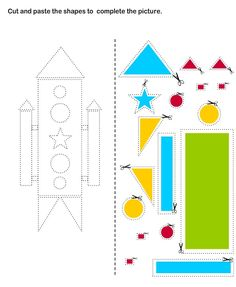 Cut and Paste worksheets for Kids. I'd need to adapt for my students who's fine motor skills would struggle with the intricacy of some of the shapes but great idea. Cut And Paste Worksheets, Worksheets For Kids, Space Activities, Preschool Activities, Cutting Practice, Scissor Practice, Cutting Activities, Space Theme, Art For Kids