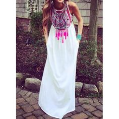 Ethnic Style Round Collar Sleeveless Printed Women's Dress
