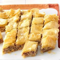 Honey Nut & Cream Cheese Baklava Recipe -I love serving impressive desserts that look like you spent hours in the kitchen when, in reality, they're really easy to make. This is one of those recipes. Just Desserts, Delicious Desserts, Yummy Food, Dessert Recipes, Greek Desserts, Spring Desserts, Dessert Bars, Healthy Food, Strudel