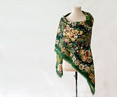 This black floral Russian shawl is called Confession. It is a lovely shawl, huge but light and easy to wear, made from the finest wool, soft and