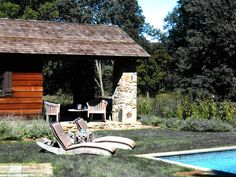 Redding,Connecticut residence. Poolside. Designed by @Robert Orr & Associates