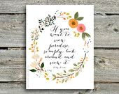 If you want to view paradise, simply look around and view it. - Willy Wonka quote - print of watercolor wreath painting