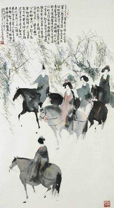 Peng Xiancheng - 彭先诚 Traditional Chinese painting - 国画 Zen Painting, Japan Painting, China Painting, Chinese Artwork, Art Japonais, China Art, Orient, Horse Art, Figurative Art