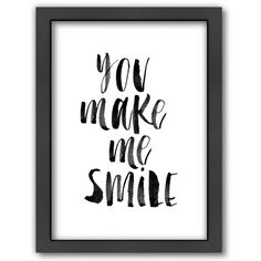 Americanflat ''You Make Me Smile'' Framed Wall Art () ($115) ❤ liked on Polyvore featuring home, home decor, wall art, framed wall art and vertical wall art