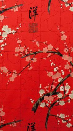 Tissus japonais, sakura, fleur de cerisier, Japon, rouge est une création orginale de haendisch sur DaWanda