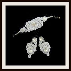 Biżuteria ślubna sutasz Soutache,Kolczyki bransoletka woalka Grzebyk