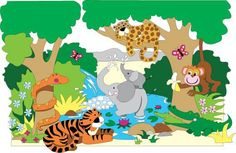 How to easily paint a jungle mural for a jungle themed room. The Jungle Pool party The easy paint by number design make it easy for anyone to paint their child a mural, and at the fraction of the p…
