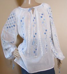 Handmade Romanian peasant blouse Peasant Blouse, Silk Thread, Hand Sewing, Ethnic, Bell Sleeve Top, Costume, Pure Products, Popular, Lace