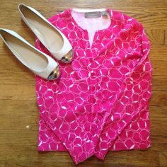 Liz Claiborne hot pink Cardigan. Pair with work pants and collar shirt or jeans! Well worn as pictured, but so much life left! Liz Claiborne Sweaters Cardigans