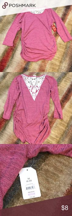 Faded Glory pink sweater medium Faded Glory sweater medium. Pink with white lace in back. Gathered sides. NWT Faded Glory Sweaters