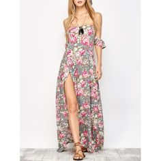 Off The Shoulder Maxi Slit Floral Dress, FLORAL, S in Maxi Dresses | DressLily.com