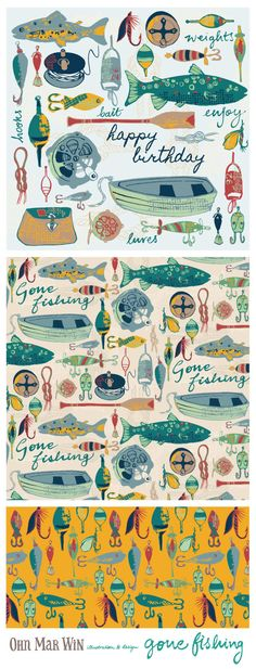 EVERYDAY designs — Ohn Mar Win Illustration Gone Fishing pattern Row boats lines reels fishing flies. Available on Spoonflower