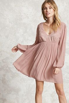 Forever 21 Contemporary - A woven swing dress featuring spiral embroidery on the front, a V-neckline, self-tie back straps, concealed side zipper, a scoop back, and long vented sleeves.