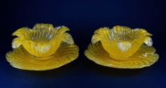 Yellow-Over-Shot-Frit-Glass-2-Bowls-and-2-Under-Plates