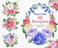 Watercolor roses bouquets: FLORAL CLIPART Floral by LeCoqDesign