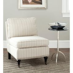 Safavieh Randy Beige Stripe Armless Club Chair | Overstock.com Shopping - Great Deals on Safavieh Chairs