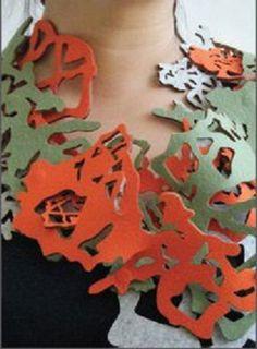 Amy Klainer - felt jewelry  100% wool industrial felt   rare earth magnets   2010 Thread Jewellery, Paper Jewelry, Textile Jewelry, Jewelry Crafts, Jewelry Art, Jewelry Design, Fashion Jewelry, Felted Jewelry, Textiles Techniques