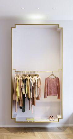 Crisp Closet- exposed closet or dressing room area Design Shop, House Design, Design Design, Rack Design, Boutique Design, Nordic Design, Exposed Closet, Clothing Store Design, Clothing Storage