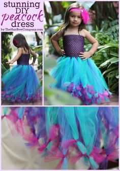Tutu Dress Peacock Tutu Dress DIY -- so doing this for my little girl!Peacock Tutu Dress DIY -- so doing this for my little girl! Diy Dress, Tulle Dress, Fancy Dress, Tulle Skirt Kids, Dress Skirt, Carnaval Kids, Little Girl Dresses, Girls Dresses, Party Dresses
