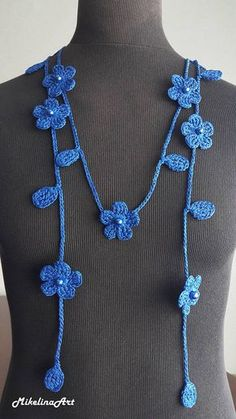 Collar de ganchillo ganchillo accesorio cuello collar azul