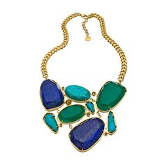 Carolee Blue Multi Stone Cluster Bib Necklace ($225) ❤ liked on Polyvore