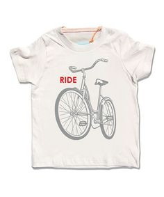 Take a look at this Cream Bike Organic Short-Sleeve Tee - Toddler & Boys by Little Lark on #zulily today!