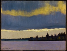 """artgalleryofontario: """" The Gleam, Northern Quebec, c. 1935 Franz Johnston, Canadian, 1888 - 1949 Oil on panel Overall: x cm Gift from the Fund of the T. Eaton Co. for Canadian Works of. Tom Thomson, Canadian Painters, Canadian Artists, Emily Carr, Landscape Art, Landscape Paintings, Art Gallery Of Ontario, Modernisme, Group Of Seven"""