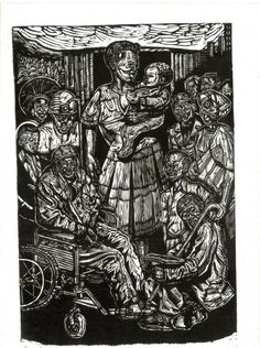 """""All Shall Be Afforded Dignity"", 1998""- linocut by Norman Kaplan. http://normankaplan.co.za/ Tags: Linocut, Cut, Print, Linoleum, Lino, Carving, Block, Woodcut, Helen Elstone, Anti-apartheid, Exile, South Africa, Dignity, Political."