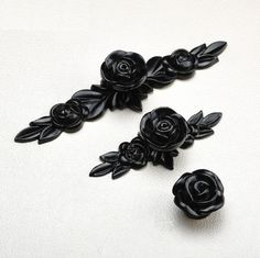 Black Rose Knobs Flower Dresser Knobs Pulls Drawer Knob Pulls Handles Shabby Chic Kitchen Cabinet Door Knob Handle Furniture Hardware Handle by MINIHAPPYLV on Etsy