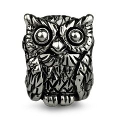 Sterling Silver Ohm Owl Bird Bead Charm AAA013