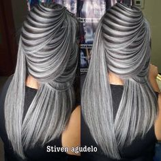 Self-respecting girls always give people a fresh and clean feeling. This also happens with the most popular stylish hair designs. we have brought you the latest European and American fashion trend. Grey Hair Wig, Grey Blonde Hair, Silver Grey Hair, Gray Hair Highlights, Green Wig, Blue Wig, Pink Wig, Perfect Hair Color, American Hairstyles