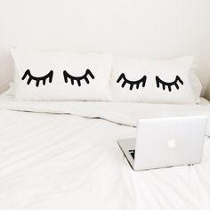 Eyelash Pillowcase Set of 2 by ZanaProducts on Etsy