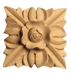 """Applique / Small / 2-1/2""""SQ X 1/2""""D - wood carvings floral furniture, wood scrollwork, cabinet lumber, decorative wood brackets, wooden…"""