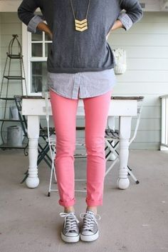 Chambray, pullover, pink jeans and converse. Great fall or winter outfit for my pink skinnies!
