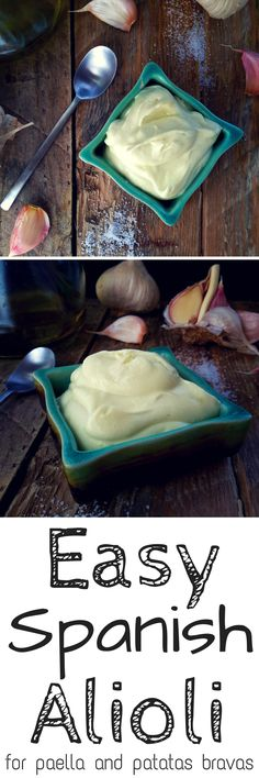 Alioli is a simple Spanish condiment of garlic and oil usually served with paella and patatas bravas. Nowadays, most people use egg to emulsify it, but that´s gross. I used aquafaba and it was amazeballs!