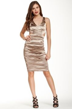 Nicole Miller Kelsey Cutout Metallic Dress