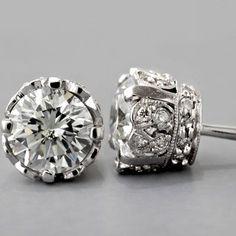 Jewelry - Earrings - Edwardian Platinum Diamond Earrings